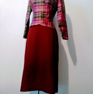 Loft red wool skirt